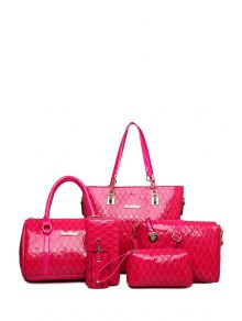 Letter Checked Patent Leather Shoulder Bag - Rose
