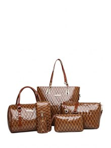 Letter Checked Patent Leather Shoulder Bag - Coffee