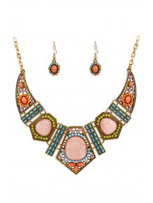 Vintage Geometric Resin Necklace and Earrings