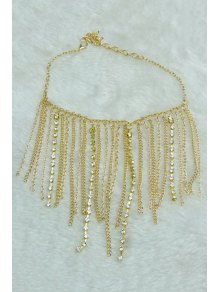 Stylish Rhinestoned Link Chain Anklet - Golden