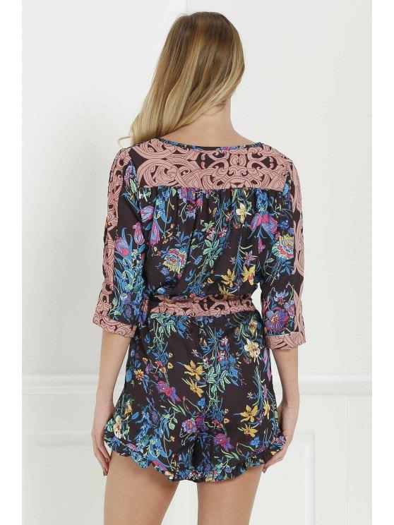 Full Floral Scoop Neck 3/4 Sleeve Romper - BLACK L Mobile