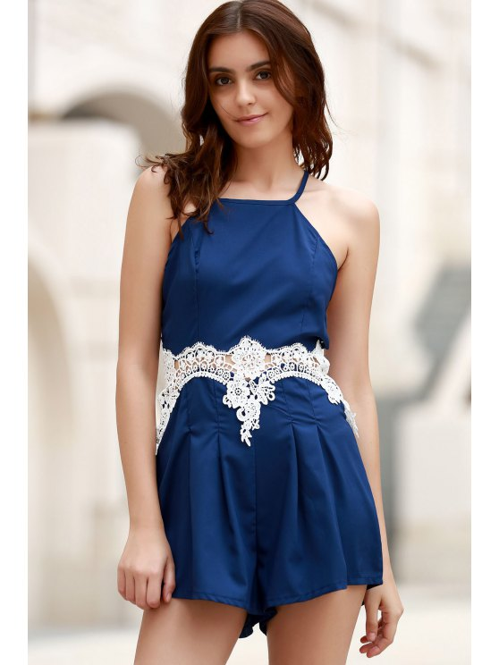 Lace Insert Cami Romper - PURPLISH BLUE M Mobile