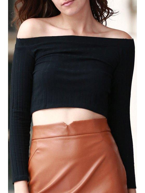 Del hombro del color sólido de manga larga de la camiseta - Negro S