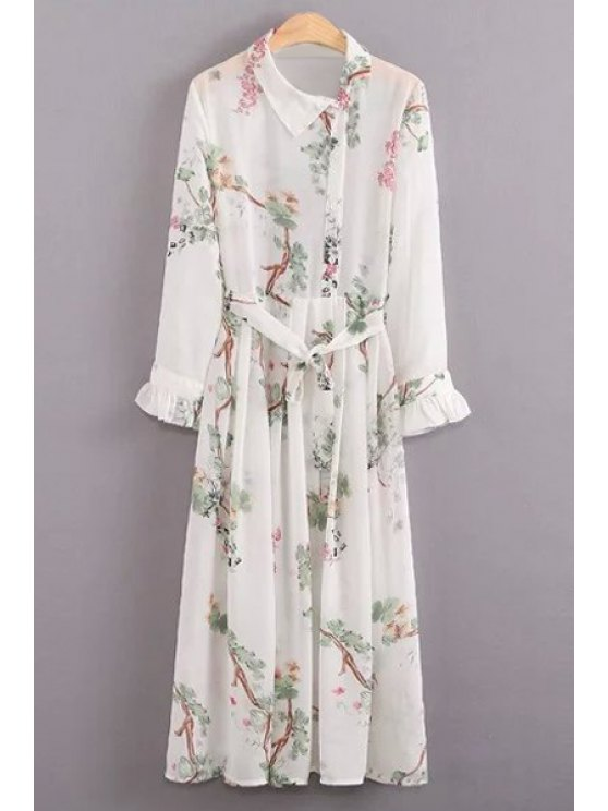 White Spaghetti Straps and Floral Print Turn-Down Collar Long Sleeve Twinset - WHITE L Mobile