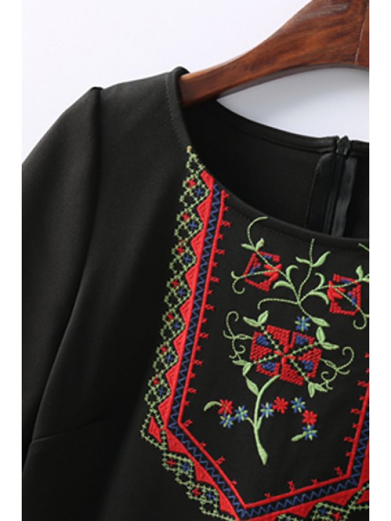 Retro Embroidered Zippered Round Neck Short Sleeve Black Shift Dress - BLACK S Mobile