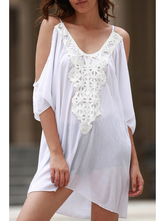 Cold Shoulder Lacework Splicing 3/4 robe à manches - Blanc L