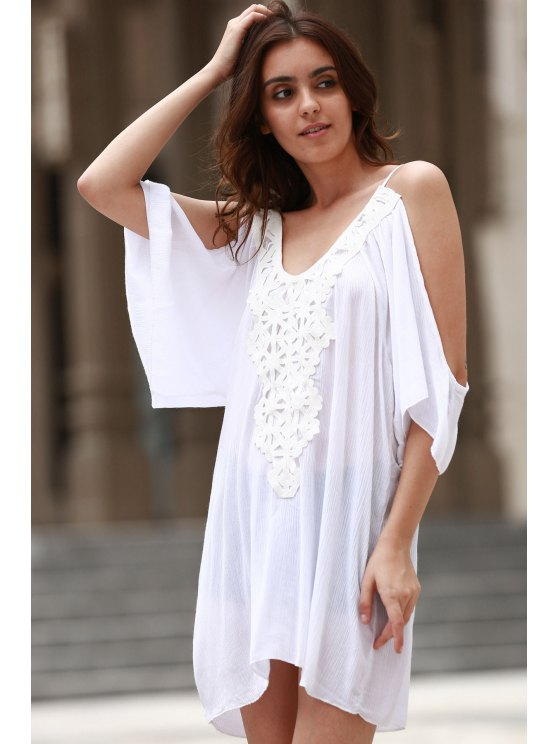 Cold Shoulder Lacework Splicing 3/4 Sleeve Dress - WHITE XL Mobile
