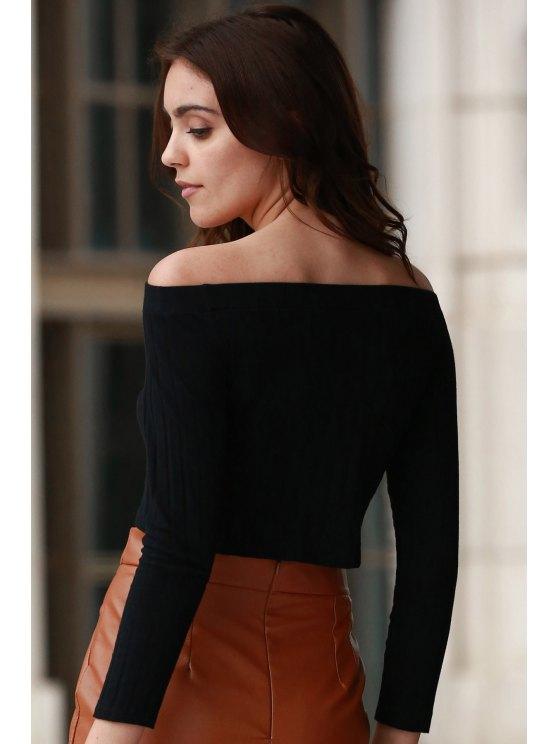 Off The Shoulder Solid Color Long Sleeve T-Shirt - BLACK M Mobile