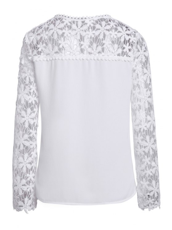 Crochet Flower Spliced Long Sleeve Blouse - WHITE 5XL Mobile