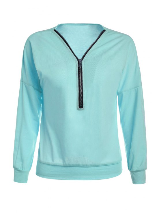 chic Long Sleeve Zippered T-Shirt - BLUE S