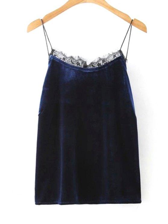 women Solid Color Lace Border Spaghetti Straps Tank Top - PURPLISH BLUE L