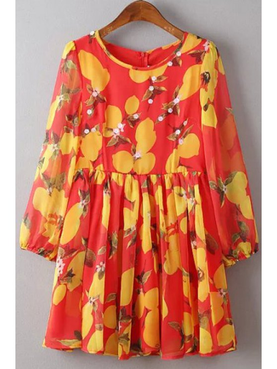 buy Flower Print Round Neck 3/4 Sleeve Dress - RED S