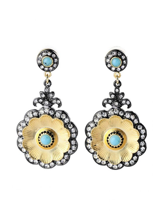 outfit Vintage Rhinestone Floral Shape Earrings - GOLDEN