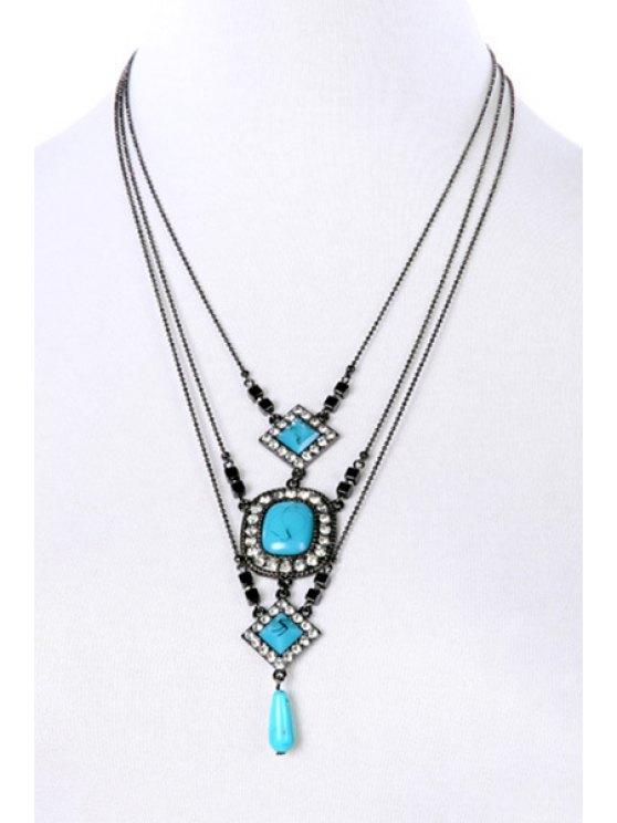 Rhinestone Turquoise Multilayered Necklace - BLACK  Mobile