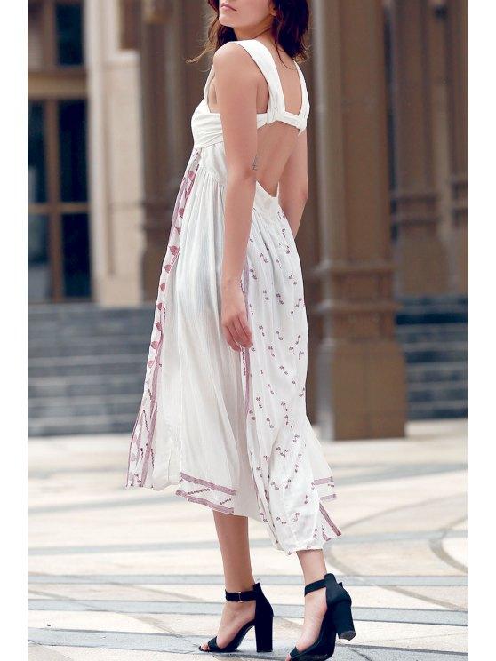 Sin espalda bordado de las correas Vestido de corte lateral - Blanco L