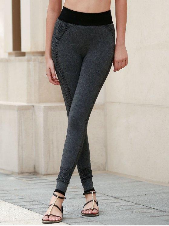 Actifs taille élastique Skinny Pantalons de yoga pour femmes - Gris Foncé S