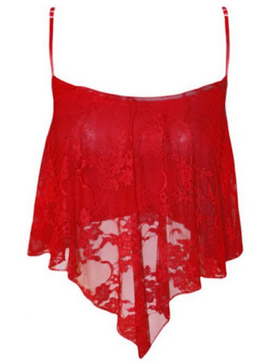 Empalmado Cami de encaje sin mangas recortada - Rojo L