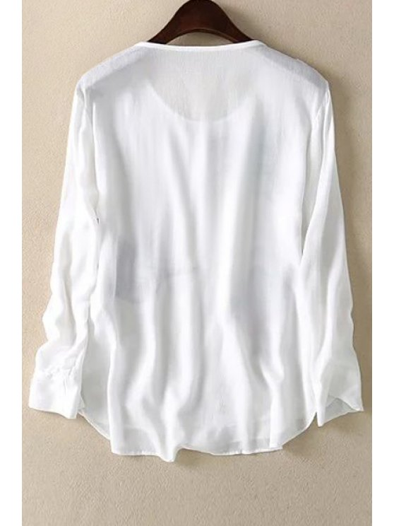Loose Floral Bird Print Round Neck Long Sleeve T-Shirt - WHITE M Mobile