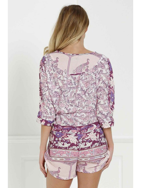 Floral Print V Neck 3/4 Sleeve Romper - PURPLISH RED L Mobile
