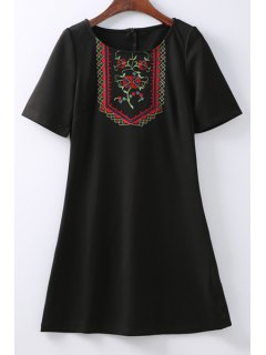 Retro Embroidered Zippered Round Neck Short Sleeve Black Shift Dress - Black S