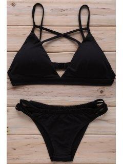 Solid Color Cross Halter Bikini Set - Black Xl