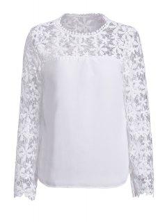 Blouse à Manches Longues Avec Empiècements Floraux En Crochet  - Blanc M