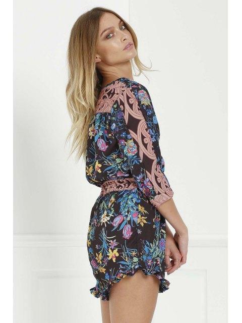 fashion Full Floral Scoop Neck 3/4 Sleeve Romper - BLACK L Mobile