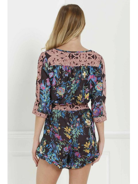 latest Full Floral Scoop Neck 3/4 Sleeve Romper - BLACK S Mobile