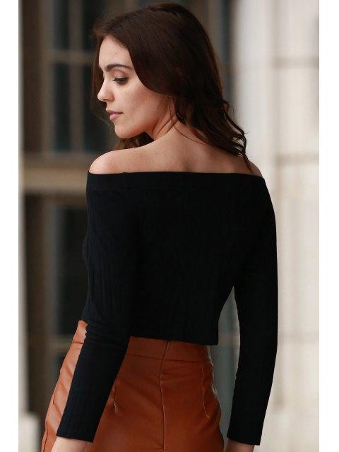 lady Off The Shoulder Solid Color Long Sleeve T-Shirt - BLACK L Mobile