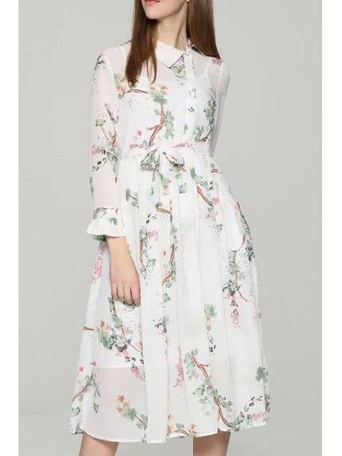 unique White Spaghetti Straps and Floral Print Turn-Down Collar Long Sleeve Twinset - WHITE L Mobile