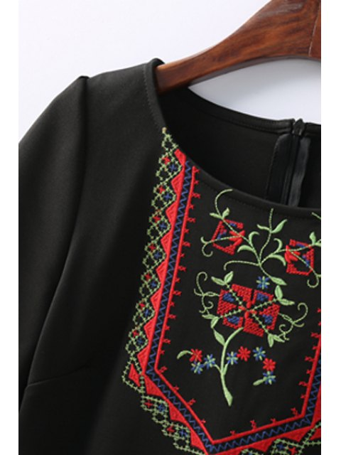 online Retro Embroidered Zippered Round Neck Short Sleeve Black Shift Dress - BLACK S Mobile