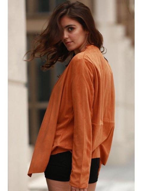 womens Suede Turn-Down Collar Long Sleeve Waisted Coat - DARK KHAKI L Mobile