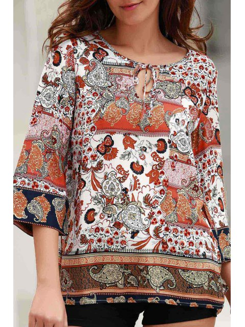 online Printed Round Collar 3/4 Sleeve Blouse - COLORMIX S Mobile