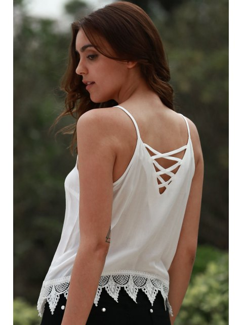 shops Lace Up Cami Tank Top - WHITE L Mobile