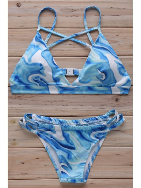 chic Floral Print Cross Halter Bikini Set - LIGHT BLUE XL Mobile