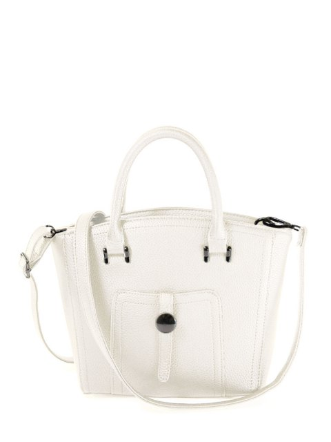 women Metal PU Leather Solid Color Tote Bag - WHITE  Mobile