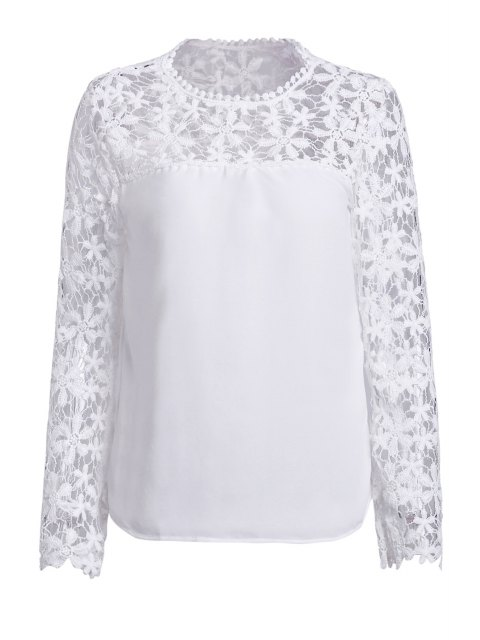 new Crochet Flower Spliced Long Sleeve Blouse - WHITE S Mobile