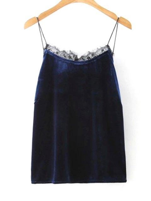 women Solid Color Lace Border Spaghetti Straps Tank Top - PURPLISH BLUE L Mobile