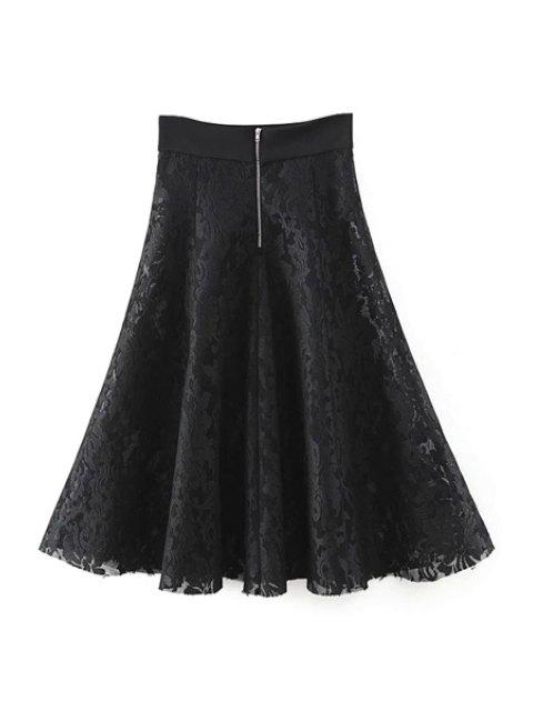 ladies Solid Color High Waist A-Line Floral Lace Skirt - BLACK M Mobile