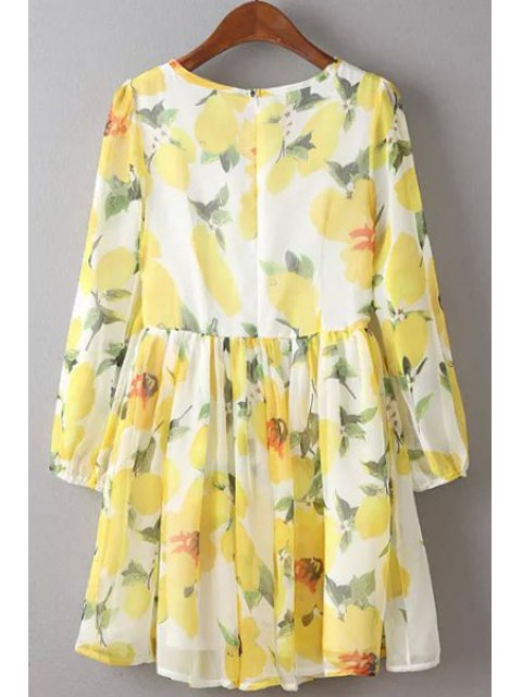 lady Flower Print Round Neck 3/4 Sleeve Dress - YELLOW M Mobile
