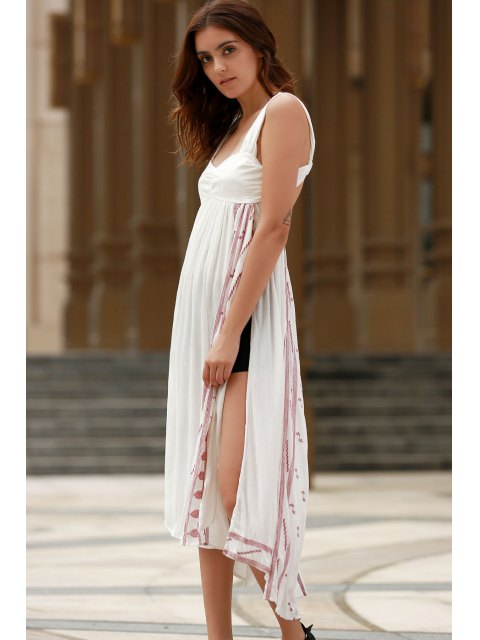 latest Backless Straps Embroidery Side Slit Dress - WHITE S Mobile