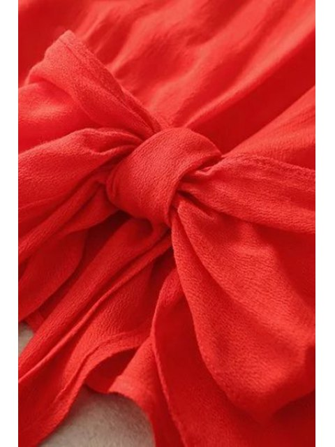 fashion Bowknot Solid Color Round Neck Long Sleeve Blouse - RED S Mobile