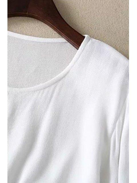 unique Loose Floral Bird Print Round Neck Long Sleeve T-Shirt - WHITE M Mobile