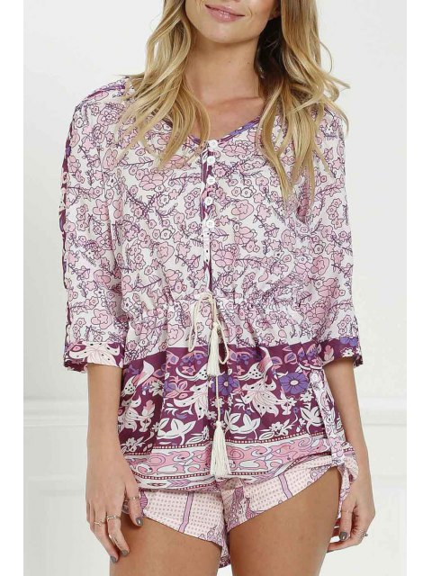 women's Floral Print V Neck 3/4 Sleeve Romper - PURPLISH RED M Mobile