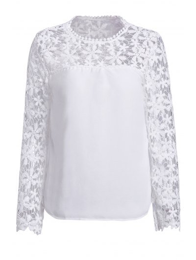 Crochet Flower Spliced Long Sleeve Blouse - White
