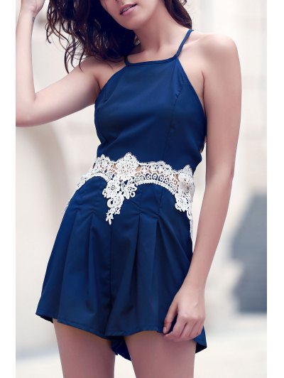 Lace Spliced Cami Playsuit - PURPLISH BLUE XL Mobile