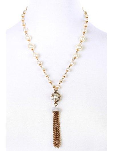 Vintage Alloy Rhinestone Link Chain Tassel Necklace For Women