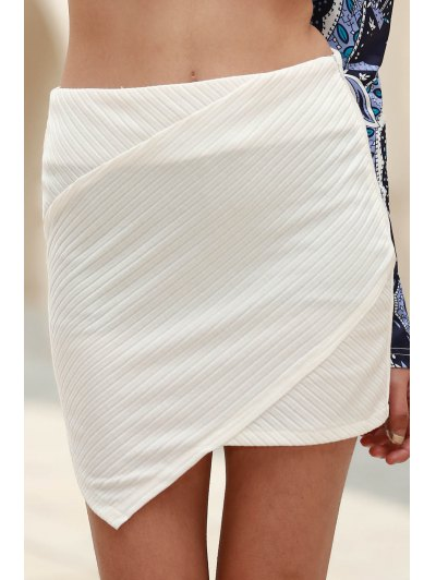 Packet Buttocks Mini Skirt - WHITE L Mobile