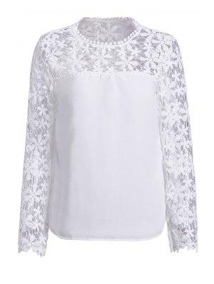 Crochet Flower Spliced Long Sleeve Blouse - White