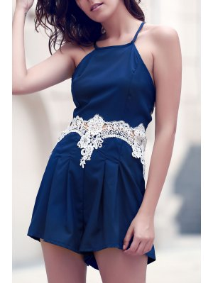 Lace Spliced Cami Playsuit - Purplish Blue
